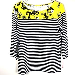 NWT! Elle | Floral and Striped Crewneck Top